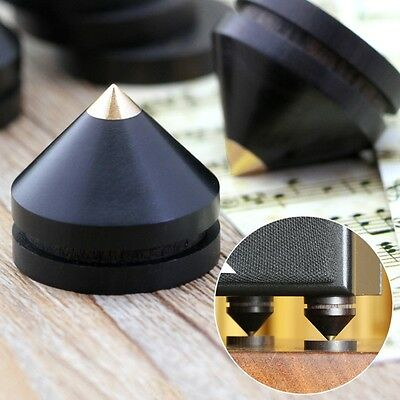 4x 23mm Ebony Speaker Isolation Spike Cone Wooden Copper Stand Feet+Base Pad Kit