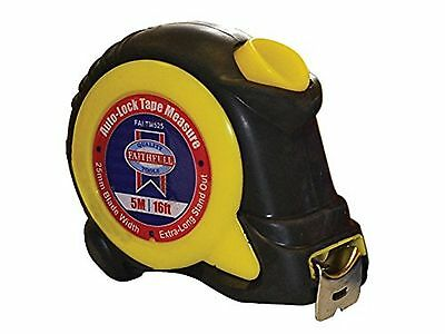 Faithfull 5m 16ft Auto Lock tape Measure 25mm Wide Blade Extra Long Stand Out