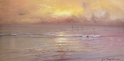 Jean Paguenaud (1876-1952) Signed French Oil Sunset On Coast - Beautiful