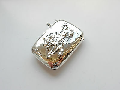 Solid Silver Embossed 'After Remington' Cowboy on Bucking Horse Vesta