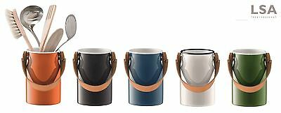 LSA International Utility Utensil Pot Jar Caddy with Leather Handle, All Colours