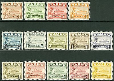 SG 26b/39b Nauru 1924-48 set of 14 values. Unmounted mint. 2½d value toned...