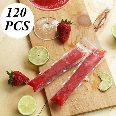 120Pcs Ice Cream Maker Candy Popsicle Disposable Bags Zip Lock Seal Freezer Mold