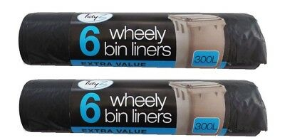 Extra Large Wheelie Bin Liners Waste Rubbish Bags 300L Pack 1-36