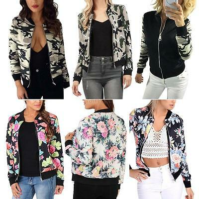 Mode Femmes Zip Biker Coat Celebrity Flower Floral Jacket Printed Bomber Outwear