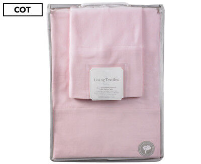 Living Textiles 3-Piece Jersey Cotton Cot Sheet Set - Pink