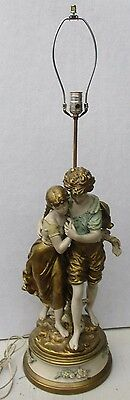 Large Antique French Cold Painted Spelter Figural Lamp Moreau