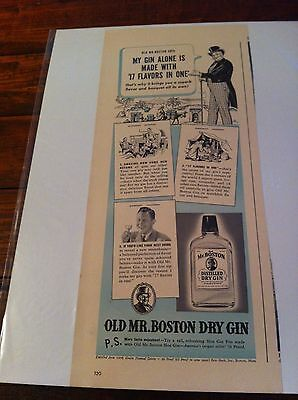 Vintage 1940 Old Mr. Boston Dry Gin 17 Flavors In 1 Print Art ad