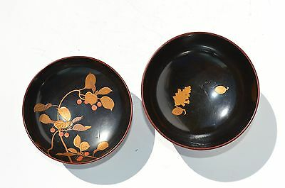Fine Antique/vintage Japanese Painted, Lacquered Wooden Soup Bowl With Lid/cover