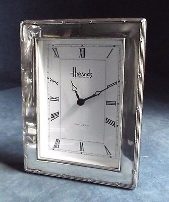 "SUPERB Working ~ HARRODS ~ 7"" SOLID SILVER Rimmed ~ Alarm CLOCK ~ S'field 1996"