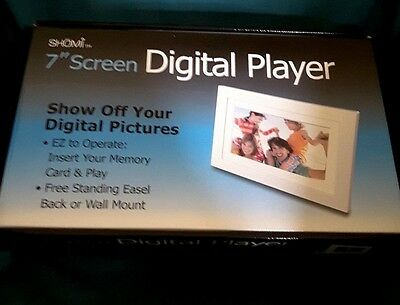 "Shomi 7"" Widescreen Lcd Digital Photo Frame- White-New"