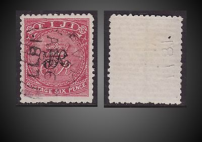 1877 Fiji Value 6P. Rose , Laid Paper , Overprint Used Pin Hole  Sct. 35 Sg. 33
