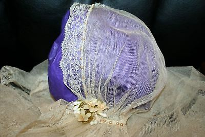 EXQUISITE ANTIQUE Old FRENCH LACE BRIDAL VEIL WAX FLOWERS HAND BEADING NET TRAIN