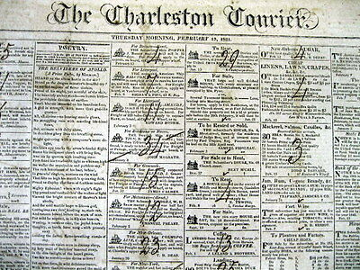 Lot of 5 orig 1818-1824 CHARLESTON COURIER South Carolina newspapers w Slave Ads