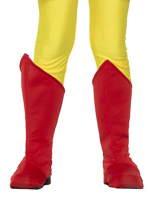 Childs Red Super Hero Boot Top Toppers Shoe Covers Costume Accessory