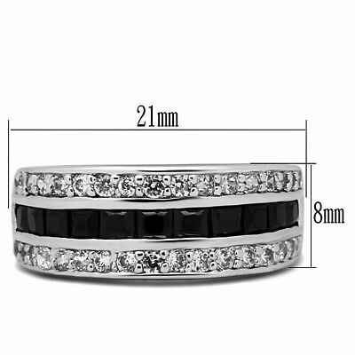 3 Rows Black Princess Cut CZ Center None Tarnish Stainless Steel Eternity Band