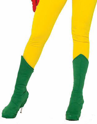 Adults Green Super Hero Boot Top Toppers Shoe Covers Costume Accessory-L