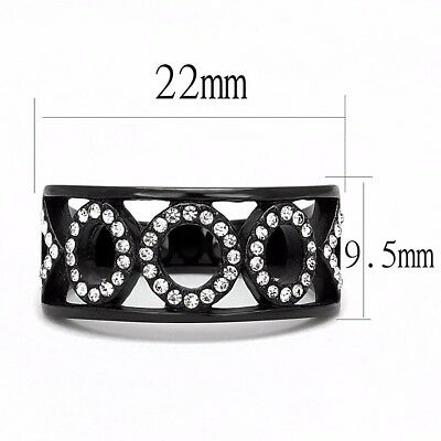 Clear CZ on Three Circles Black Ion Plated over Stainless Steel Band Ring