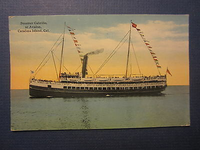 Old Vintage 1916 Steamer CABRILLO Steamship POSTCARD - Avalon Catalina Island CA