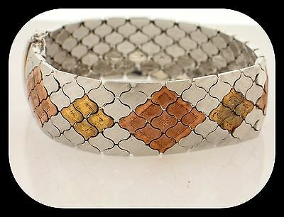 Wide Heavy New Designer GR Italy 925 Sterling Silver 3 Color Design BRACELET