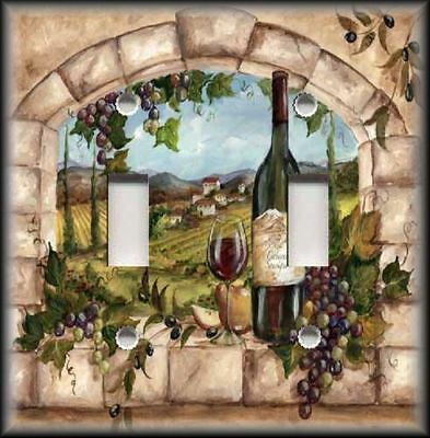 Metal Light Switch Plate Cover - Tuscan Kitchen Decor Wine And Grapes Decor Wine