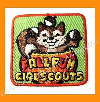 Official Girl Scout FALL FUN PATCH Squirrel Halloween Thanksgiving Multi=1 Ship