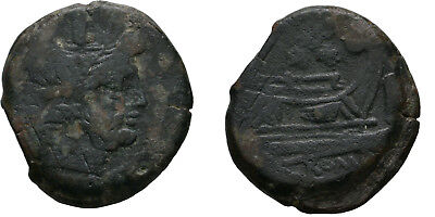 Ancient Rome REPUBLIC aft.211 BC Large AS JANUS PROW GALLEY