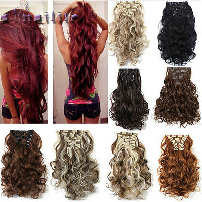 100% Natural Hair Clip in Hair Extensions 8 Pieces Full Head Long As Human hg90