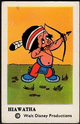 1963 Vintage Swedish Unnumbered Disney Set Gum Card Hiawatha