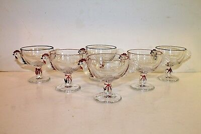 Set of 6 Vintage Rooster Chicken Clear Glass Sherbet Ice Cream Cups Footed