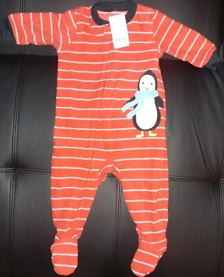 Carter's Baby Boys 1-Piece Footed Fleece PJ's Sleeper Red with Stripes & Penguin