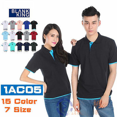 Summer Basic Men's Short Sleeve Uniform Work Polo T-shirt Cotton Double Color BM