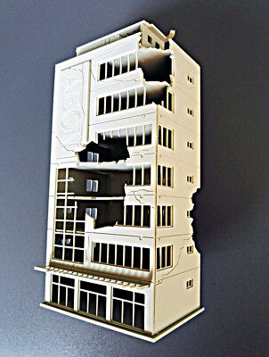 N Scale 1/144 White Ruined Building after War GUNDAM Scene 8*5.7*16.2cm NN068