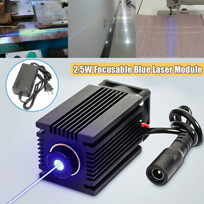 445nm 2.5W 2500mW Blue Laser Module With Heatsink DIY Laser Cutter Engraver US