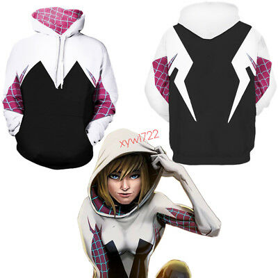 Spider-Man Spider Gwen Cosplay Costume Outfit Women Men Hoodies Sweatshirts New