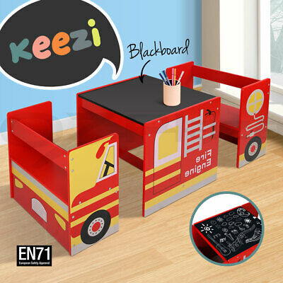 Keezi Kids Table and Chair Set Children Wooden Furniture Fire Engine Truck Car