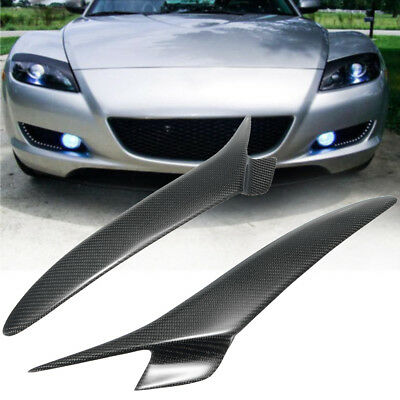 Carbon Fiber Headlight Lids Brow Eyebrows Eyelids Cover For Mazda Rx 8 Rx8 04-08
