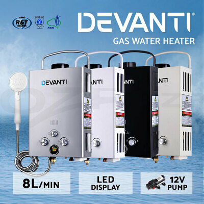 DEVANTi Gas Hot Water Heater Portable Shower Pump Camping LPG Caravan Outdoor