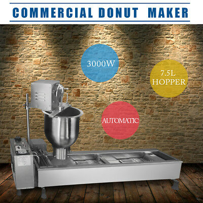 220V Commercial Automatic Donut Maker Making Machine Wide Oil Tank + 3 Sets Mold