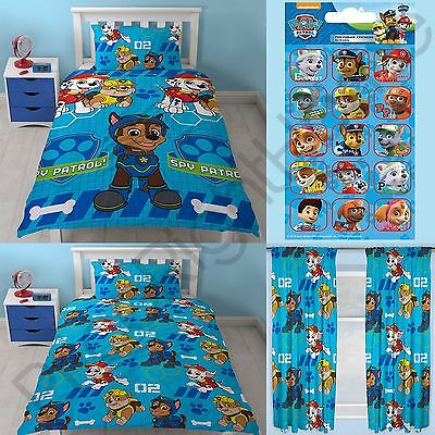 "PAW PATROL SPY SINGLE ROTARY DUVET COVER SET + CURTAINS 66 x 72"" + FOIL STICKERS"