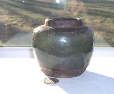 Nice Green Colored Pottery Victorian Ginger Crock - 1880's Period