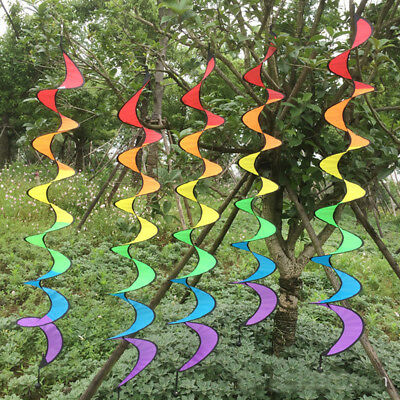 Colorful Foldable Rainbow Wind Spinner Spiral Tail Windmill Tent Garden Decor UK