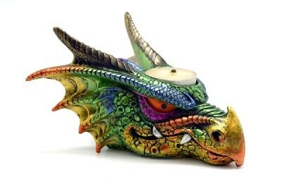 Multi Colored Dragon Head Tea Light Candle Holder Fantasy Home Decoration New