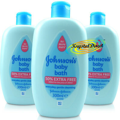 3x Johnsons Baby Bath Everyday Gentle Cleansing 300ml - No More Tears