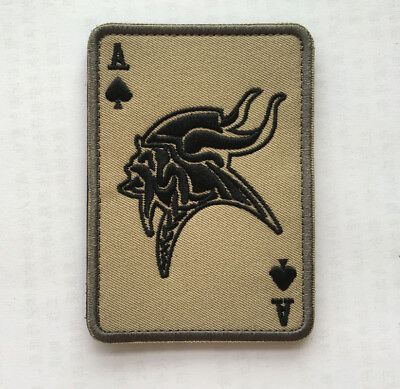 ACE OF SPADES Vikings CARD MILITARY MORALE TACTICAL HOOK PATCH  AA  +1061