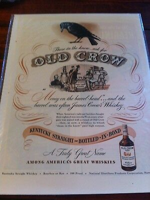 Vintage 1947 Old Crow Money On The Barrel Head Print Art ad