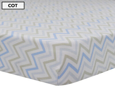 Living Textiles Cot Fitted Sheet - Blue Chevron