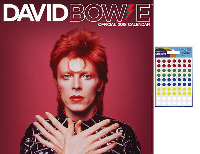 David Bowie Official 2018 Wall Calendar - Includes 70 Coloured Dot Stickers