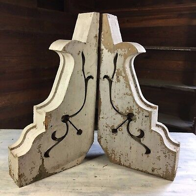 1890's Antique Pair(2) Wood Corbels Brackets Victorian Gingerbread White 457-17