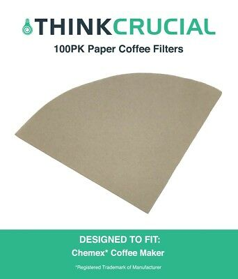 100 Replacement Unbleached Paper Filters Fit 6, 8 & 10 Cup Chemex Coffee Makers